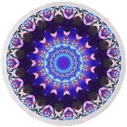 Round Beach Towel featuring the digital art Violet Lace by Shawna Rowe