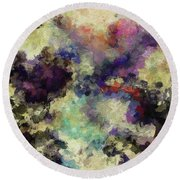 Round Beach Towel featuring the painting Violet Landscape Painting by Ayse Deniz