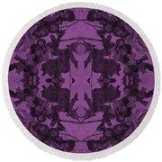 Violet Oak Tree Pattern Round Beach Towel