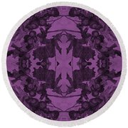 Violet Oak Tree Pattern Round Beach Towel