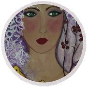 Violet Queen Round Beach Towel