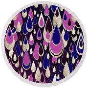 Round Beach Towel featuring the digital art Violet Rain by Zaira Dzhaubaeva