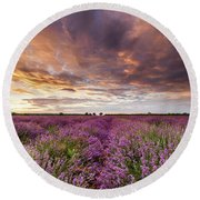 Violet Sunrise Round Beach Towel