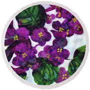 Round Beach Towel featuring the painting Violets by Julie Maas