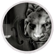 Violin And Lion Face Black And White Round Beach Towel
