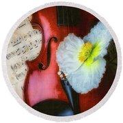 Violin And Poppy Round Beach Towel