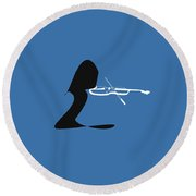 Violin In Blue Round Beach Towel by David Bridburg