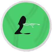 Violin In Green Round Beach Towel by David Bridburg