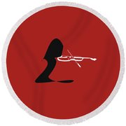 Violin In Orange Red Round Beach Towel by David Bridburg