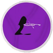 Violin In Purple Round Beach Towel by David Bridburg