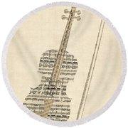 Violin Old Sheet Music Round Beach Towel