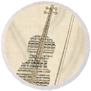 Violin Old Sheet Music Round Beach Towel