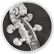 Violin Scroll Round Beach Towel by Remrov