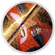 Violin With Sparks Flying From The Bow Round Beach Towel