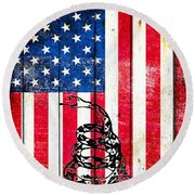 Viper On American Flag On Old Wood Planks Vertical Round Beach Towel