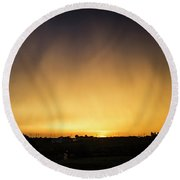 Virga And Sunrise Round Beach Towel