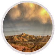 Round Beach Towel featuring the photograph Virga Over The Badlands by Fiskr Larsen