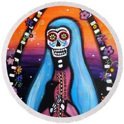Round Beach Towel featuring the painting Virgen Guadalupe Muertos by Pristine Cartera Turkus