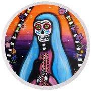 Virgen Guadalupe Muertos Round Beach Towel by Pristine Cartera Turkus