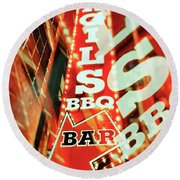Virgils Real Bbq New York City Round Beach Towel