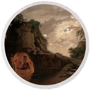 Round Beach Towel featuring the painting Virgil's Tomb By Moonlight With Silius Italicus Declaiming by Joseph Wright of Derby