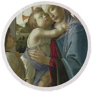 Virgin And Child With An Angel Round Beach Towel