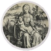 Virgin And Child With The Monkey Round Beach Towel