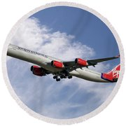 Virgin Atlantic Airbus A340-642 Round Beach Towel