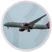 Virgin Atlantic Airplane Gwmap Boeing 787-9 Arriving Lax Art Round Beach Towel