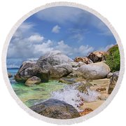 Round Beach Towel featuring the photograph Virgin Gorda The Baths by Olga Hamilton