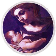 Round Beach Towel featuring the painting Virgin Mary And Baby Jesus, The Greatest Gift by Jane Small