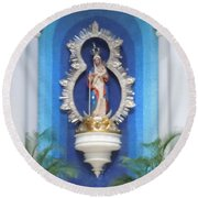 Virgin Mary Shrine Round Beach Towel