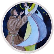 Virgin Mary With Jesus And St Anthony Round Beach Towel