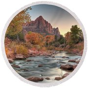 Virgin River And The Watchman Round Beach Towel