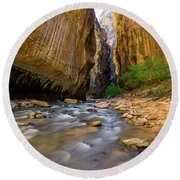 Virgin River - Zion National Park Round Beach Towel