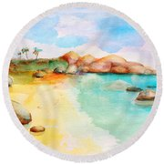 Virgin Rocks Round Beach Towel