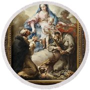 Round Beach Towel featuring the painting Virgin With St. Francis And St. Dominic by Celestial Images