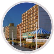 Virginia Beach Boardwalk Round Beach Towel