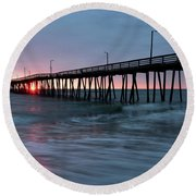 Virginia Beach Fishing Pier Round Beach Towel