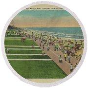 Virginia Beach Ocean Front Boardwalk Round Beach Towel