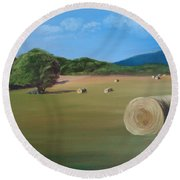 Round Beach Towel featuring the painting Virginia Hay Bales by Donna Tuten