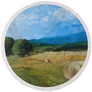 Round Beach Towel featuring the painting Virginia Hay Bales II by Donna Tuten