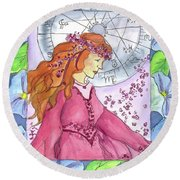 Round Beach Towel featuring the painting Virgo by Cathie Richardson