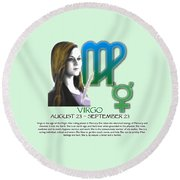 Virgo Sun Sign Round Beach Towel