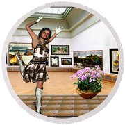 Virtual Exhibition - A Girl With A Pairro Dress Round Beach Towel by Danail Tsonev