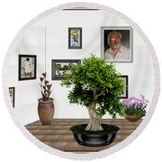 Round Beach Towel featuring the mixed media Virtual Exhibition -  Bonsai 13 by Pemaro