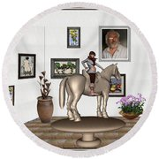 Round Beach Towel featuring the mixed media Virtual Exhibition Horsewoman 13 by Pemaro