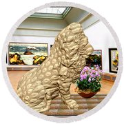 Virtual Exhibition - Statue Of A Lion Round Beach Towel
