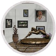 Round Beach Towel featuring the mixed media Virtual Exhibition -statue Of Girl by Pemaro