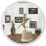 Round Beach Towel featuring the mixed media Virtual Exhibition_statue Of A Horse by Pemaro